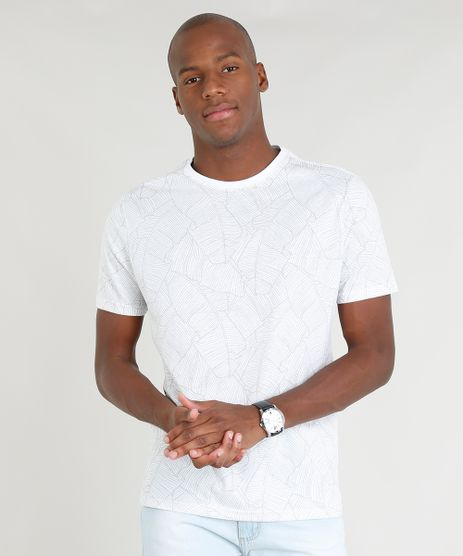 Camiseta-Masculina-Estampada-de-Folhagens-Manga-Curta-Gola-Careca-Branca-9347526-Branco_1