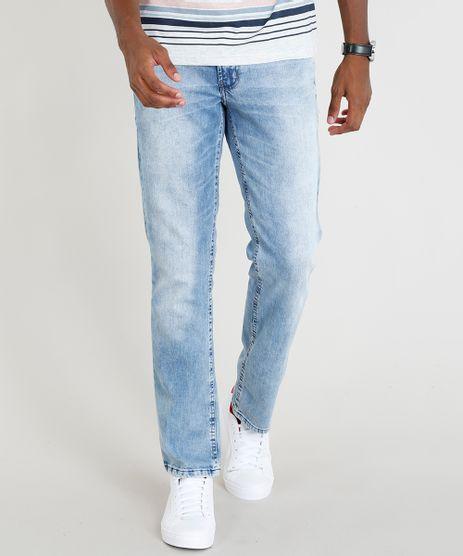 0f80760a9d Calca-Jeans-Masculina-Reta-com-Bolsos-Azul-Claro-