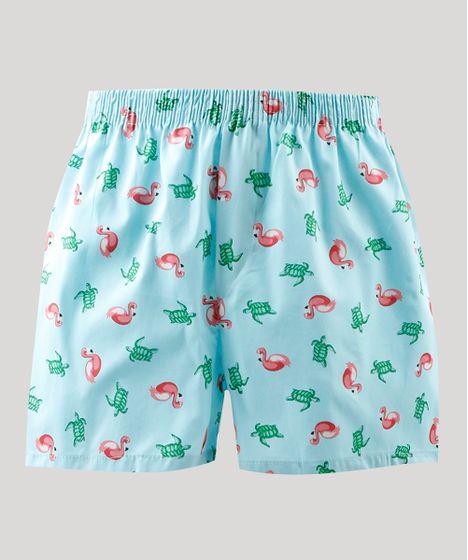 949c4aca99c3cc Samba Canção Masculina Estampada de Flamingos e Tartarugas Azul Claro