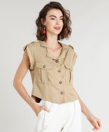 Camisa-Feminina-com-Bolsos-Manga-Curta-Kaki-9365673-Kaki_1