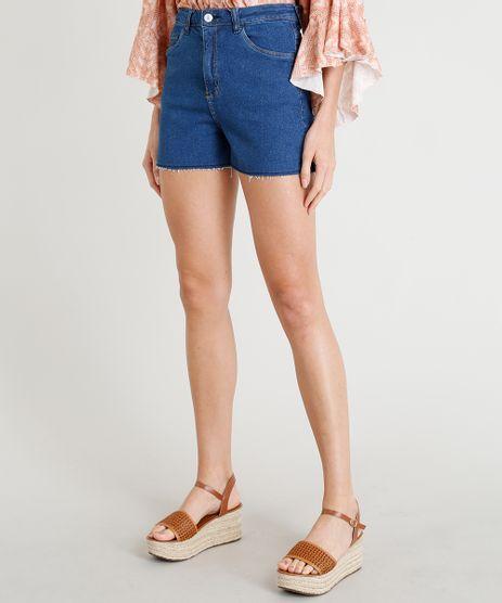 Short-Jeans-Feminino-Cintura-Alta-com-Barra-a-Fio-Azul-Escuro-9346391-Azul_Escuro_1