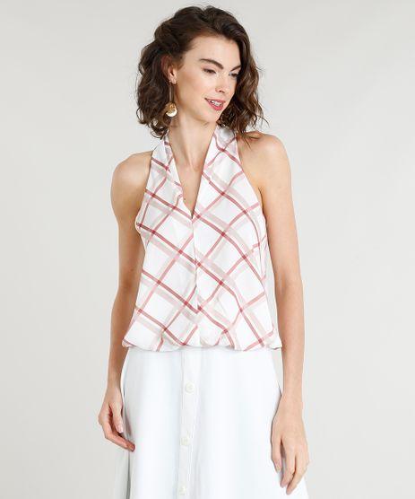 Regata-Feminina-Bluse-com-Estampa-Xadrez-Decote-V-Off-White-9371742-Off_White_1