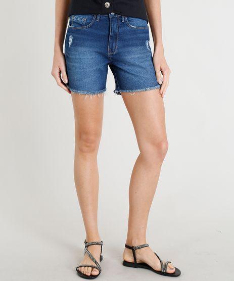 Short-Jeans-Feminino-Midi-com-Barra-Desfiada-Azul-Escuro-9365643-Azul_Escuro_1