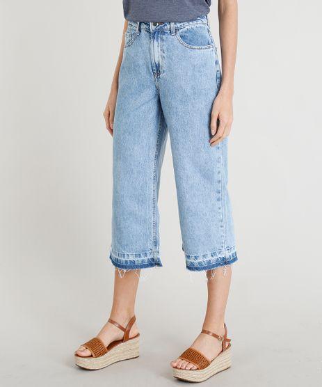 Calca-Jeans-Pantacourt-Feminina-com-Cintura-Alta-Barra-Desfeita-Azul-Claro-9381119-Azul_Claro_1