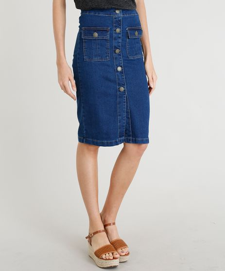 Saia-Jeans-Feminina-Lapis-com-Botoes-Azul-Escuro-9372334-Azul_Escuro_1