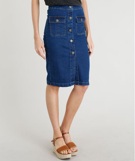 a464ab602 Saia Jeans Feminina Lápis com Botões Azul Escuro - cea