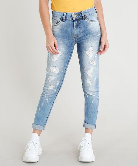 Calça Jeans Feminina Sawary Super Skinny Destroyed Azul Claro - cea 06b41d62f8c1f