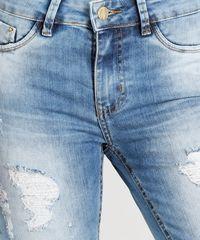 19d1c30e0 Calça Jeans Feminina Sawary Super Skinny Destroyed Azul Claro ...