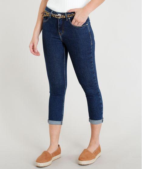 14f76a7e5 Calça Jeans Feminina Cropped com Cinto Animal Print Azul Escuro - cea