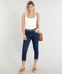 84359c20d Calça Jeans Feminina Cropped com Cinto Animal Print Azul Escuro ...