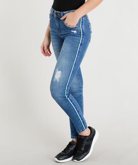Calca-Jeans-Feminina-Skinny-com-Rasgos-e-Faixa-Lateral-Azul-Escuro-9365625-Azul_Escuro_1