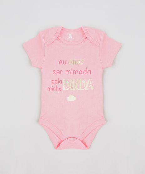 Body-Infantil--Eu-Amo-Ser-Mimada-Pela-Minha-Dinda--Manga-Curta-Decote-Redondo-Rosa-9208101-Rosa_1