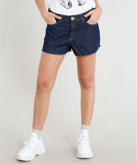 Short-Jeans-Feminino-Boy-com-Barra-Desfiada-Azul-Escuro-9365679-Azul_Escuro_1