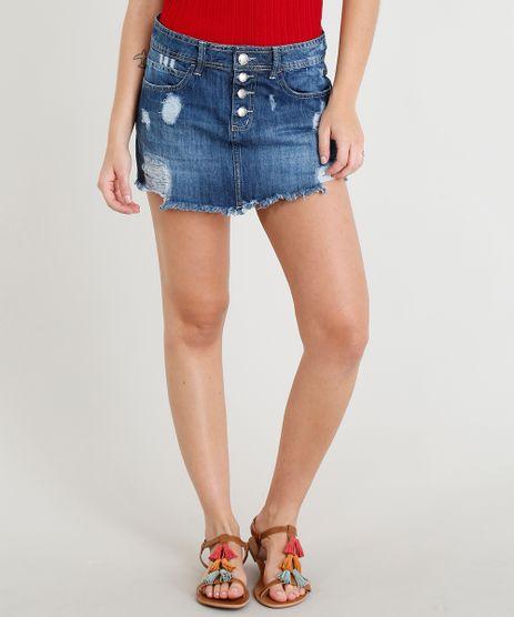Short-Saia-Jeans-Feminino-Destroyed-com-Botoes-Azul-Escuro-9374784-Azul_Escuro_1
