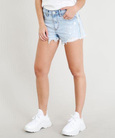 Short-Jeans-Feminino-com-Faixa-de-Lurex-Azul-Claro-9362136-Azul_Claro_1