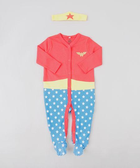 f0165030ad4 Menor preço em Macacão Infantil Mulher Maravilha com Estampa de Estrelas +  Faixa de Cabelo Vermelho