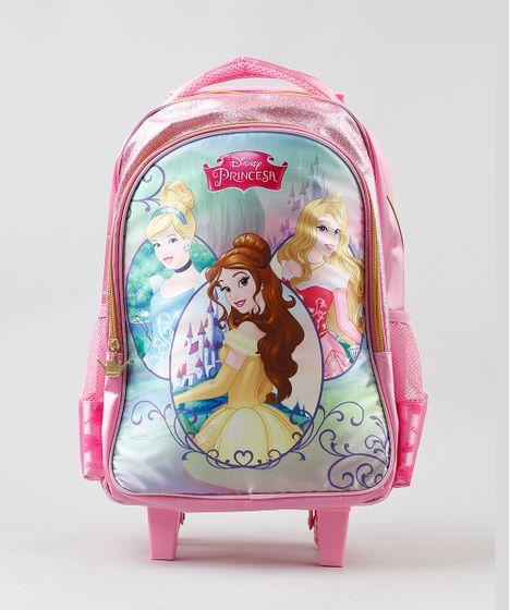 e784b7413 Mochila-Escolar-Infantil-com-Rodinhas-Princesas-Rosa-9235956- ...