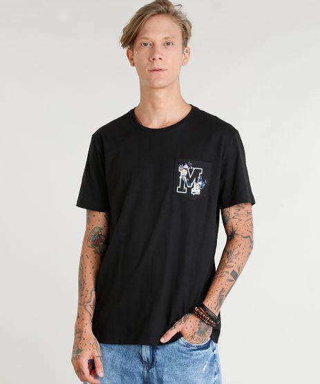Camiseta-Masculina-com-Bolso-Estampado--M--Manga-Curta-Gola-Careca-Preta-9384920-Preto_1