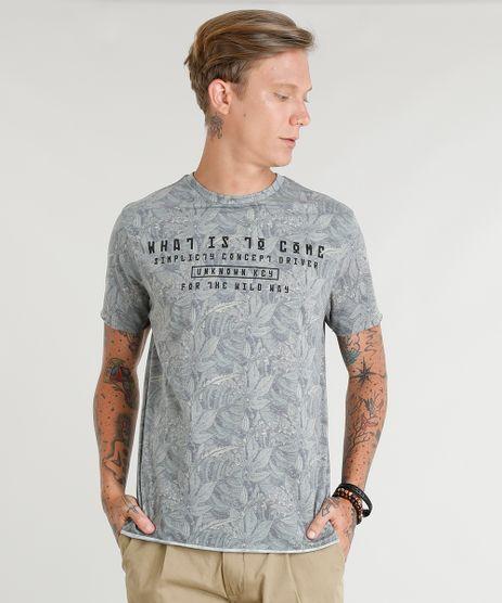 Camiseta-Masculina-Estampada-de-Folhagem-Manga-Curta-Gola-Careca-Verde-9350192-Verde_1
