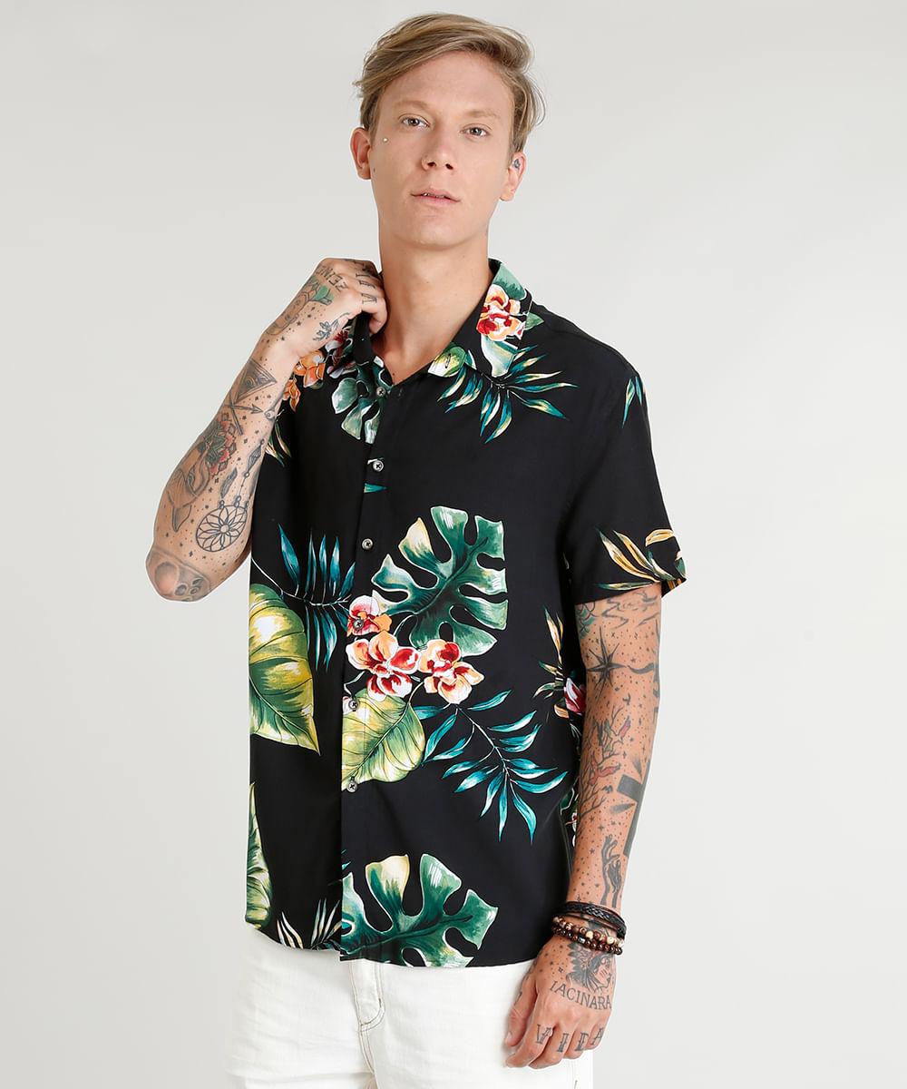 1f26952ab Camisa Masculina Estampada Floral Tropical Manga Curta Preta - cea