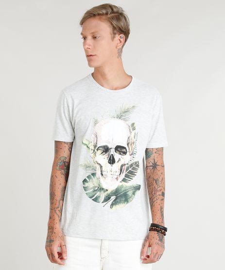 Camiseta-Masculina-Caveira-Tropical-Manga-Curta-Gola-Careca-Cinza-Mescla-Claro-9384892-Cinza_Mescla_Claro_1