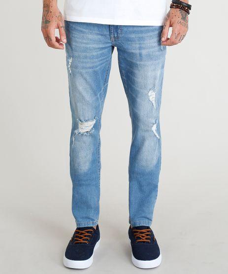 Calca-Jeans-Masculina-Skinny-com-Rasgos-Azul-Claro-9373094-Azul_Claro_1