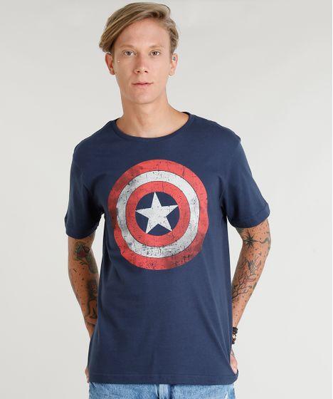 4e0d375c8c Camiseta Masculina Capitão América Manga Curta Gola Careca Azul ...