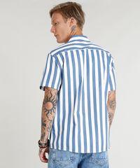 9f1386863e ... Camisa-Masculina-Listrada-Manga-Curta-Branca-9348259-Branco 1 ...