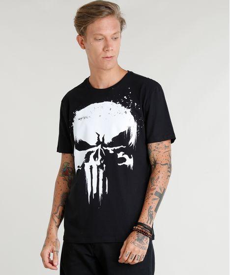 a9dbccc7a9b Camiseta Masculina Justiceiro Manga Curta Gola Careca Preta - cea