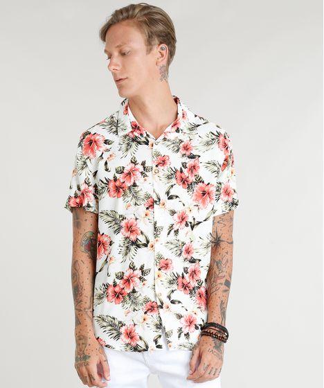 db8897ba07273 Camisa Masculina Estampada Floral Manga Curta Off White - cea