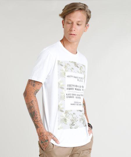 a8430bb8d8 Menor preço em Camiseta Masculina com Estampa de Folhas Manga Curta Gola  Careca Branca
