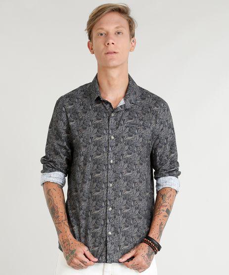 Camisa-Masculina-Estampada-de-Folhagens-com-Bolso-Manga-Longa-Verde-Escuro-9350186-Verde_Escuro_1