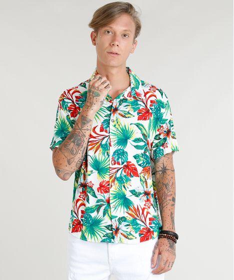32b537636f Camisa Masculina Estampada Floral Tropical Manga Curta Branca - cea