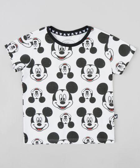 Camiseta Infantil Estampada Mickey Manga Curta Gola Careca Branca -  ceacollections 402cb88bbe7