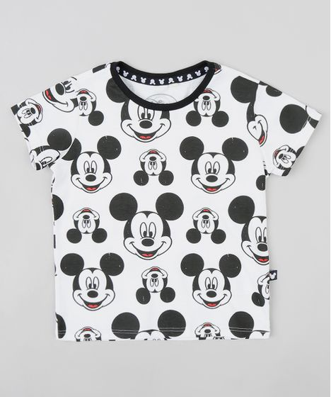 Camiseta Infantil Estampada Mickey Manga Curta Gola Careca Branca - cea 964609e16a73c
