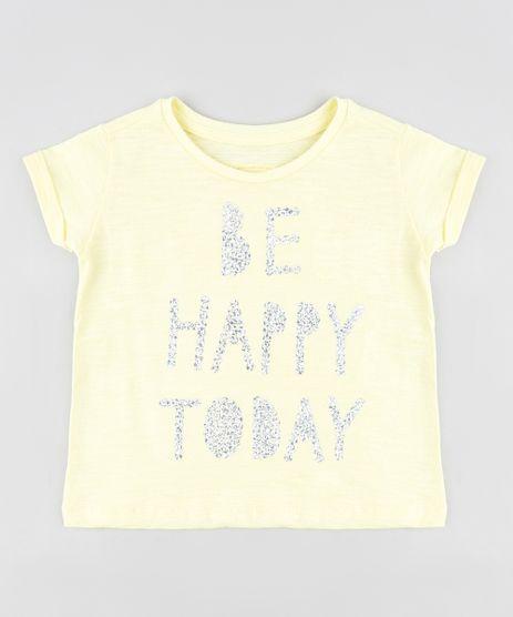 Blusa-Infantil--Be-Happy--com-Paetes-Manga-Curta-Decote-Redondo-Amarela-9381677-Amarelo_1