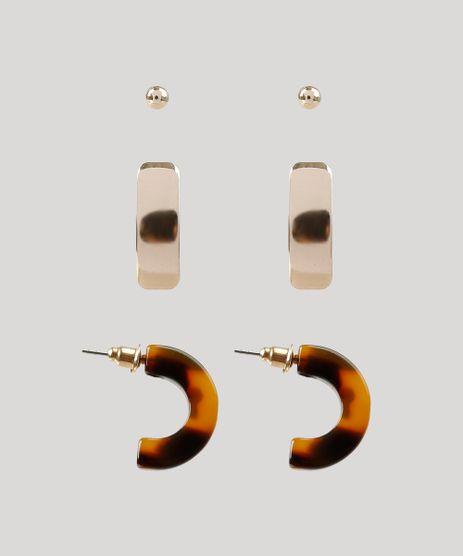 Kit-de-3-Brincos-Femininos-Dourado-9261573-Dourado_1