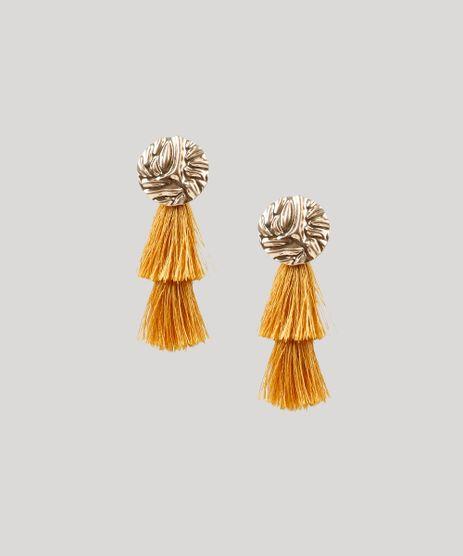 Brinco-Feminino-Redondo-Texturizado-com-Tassel-Dourado-9261681-Dourado_1