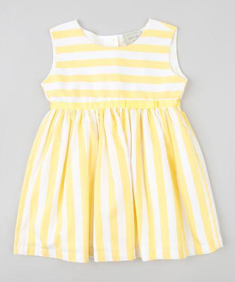 Vestido-Infantil-Listrado-com-Laco-Sem-Manga-Branco-9378649-Branco_1