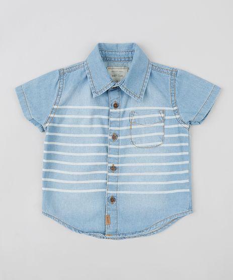 Camisa-Jeans-Infantil-com-Listras-e-Bolso-Manga-Curta-Azul-Claro-9309970-Azul_Claro_1