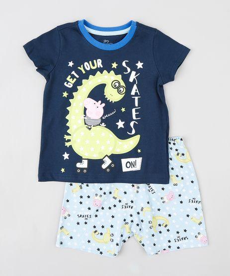 Pijama-Infantil-George-Pig-Manga-Curta-Azul-Marinho-9341955-Azul_Marinho_1