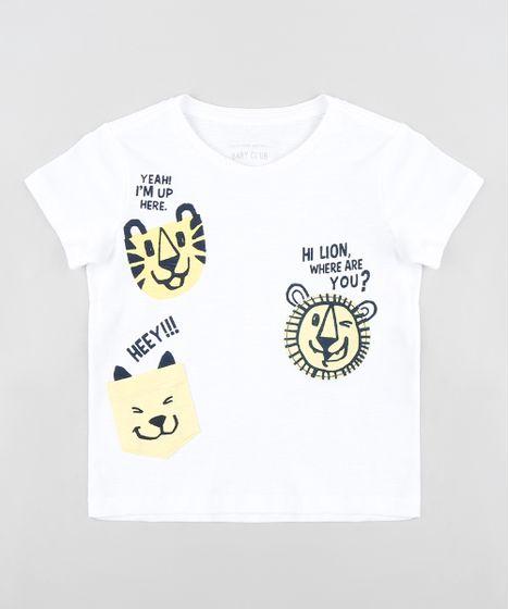 e5764dde6ec2c Camiseta Infantil com Estampa Interativa de Bichos Manga Curta Gola ...