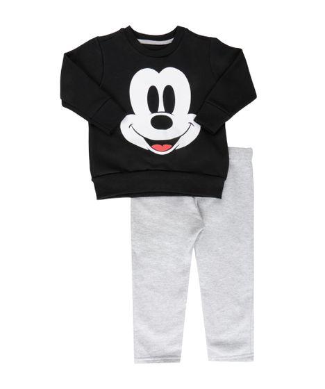 f5ff497ba5 Conjunto Infantil Mickey Mouse de Blusão em Moletom + Calça Preto ...