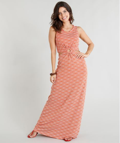 c2e9373b1020 Vestido Longo Feminino Estampado com Argola e Abertura Laranja - cea