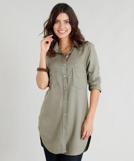 Camisa-Alongada-Feminina-com-Bolsos-Manga-Longa-Verde- 20f2c290398d0