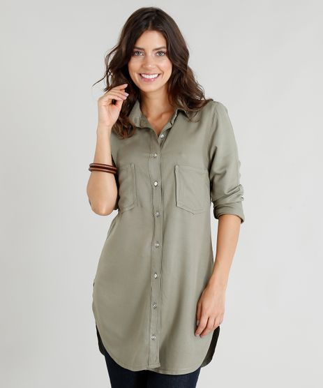 Camisa-Alongada-Feminina-com-Bolsos-Manga-Longa-Verde-Militar-9386764-Verde_Militar_1