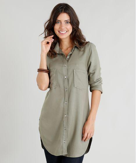 487a06b06e Camisa Alongada Feminina com Bolsos Manga Longa Verde Militar - cea