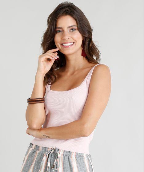 518e89d341 Regata Feminina Cropped Básica Canelada Barra a Fio Rosa Claro - cea