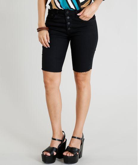 Bermuda-Jeans-Feminina-Ciclista-com-Botoes-Preta-9455667-Preto_1