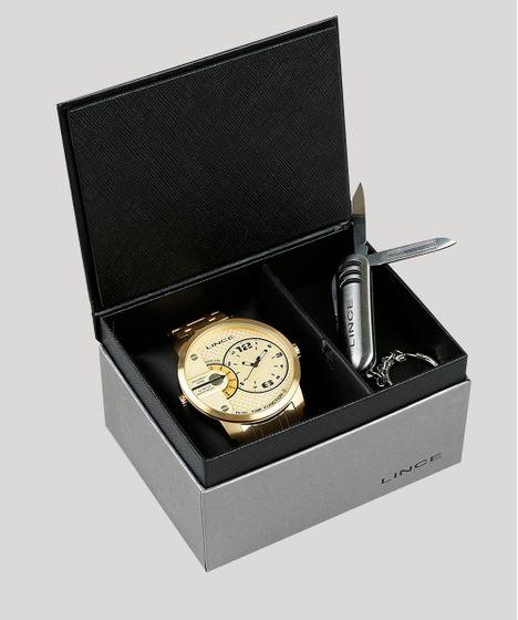 b4e8f3260 Kit de Relógio Analógico Dual Time Lince Masculino + Chaveiro ...